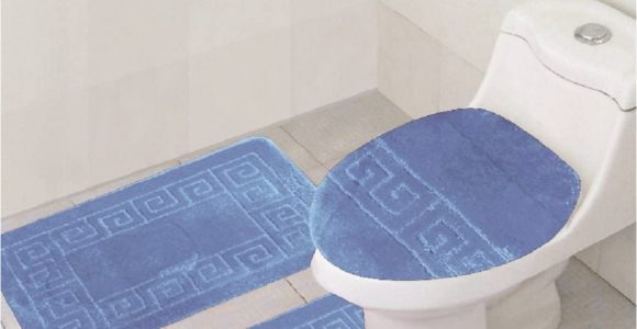 Blue Contour Bath Rug 3 Piece Bath Rug Set Pattern Bathroom Rug 20×32 Large Contour Mat 20×20 with Lid Cover Sky Blue
