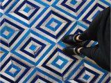 Blue Cow Skin Rug Blue Diamond Design Patchwork Cowhide Rug