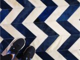 Blue Cow Skin Rug Chevron Pattern In Navy Blue and Cream What Else Shinerugs