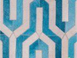 Blue Cow Skin Rug Geometric Blue Cowhide Rug