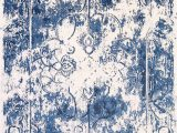 Blue Distressed area Rug Reproduction Abstract Turkish Distressed Blue Ivory oriental