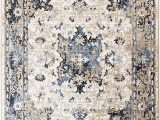 Blue Distressed area Rug Romance Collection Style 910 Cream Blue Distressed area Rug 7 4 X 10 6