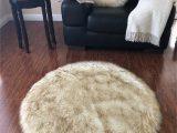 Blue Faux Sheepskin Rug soho Luxurious Faux Sheepskin Round Shape White with Brown