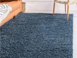 Blue Fuzzy area Rug Unique Loom Davos Shag Collection Contemporary soft Cozy solid Shag Marine Blue area Rug 5 0 X 8 0