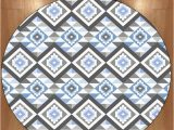 Blue Gray Bath Rug Us $44 99 Else Blue Gray Ethnic Geometric Bohemian Aztec nordec 3d Print Anti Slip Back Round Carpets area Rug for Living Rooms Bathroom Carpet