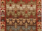 Blue Green Brown area Rugs Nomadic Caucasian Design Rust Brown Light Green and Blue