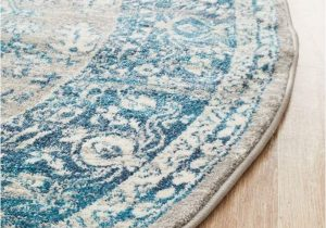 Blue Grey Round Rug Laurent Blue & Grey Round Traditional Medallion Rug