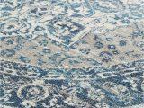 Blue Grey Round Rug Laurent Blue & Grey Round Traditional Medallion Rug