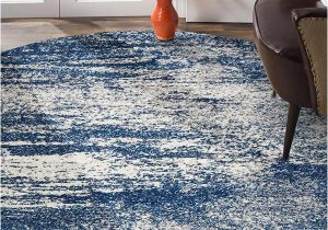 Blue Grey Round Rug Mirage Modern 355 Rug