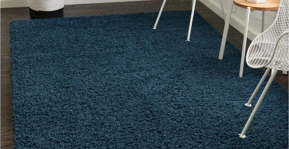 Blue Grey Shaggy Rug 5 X 8 solid Shag Rug