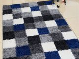 Blue Grey Shaggy Rug Shed Free Shaggy area Rugs Contemporary Abstract Chcked