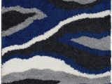 Blue Grey White area Rugs Shed Free Shaggy area Rugs Contemporary Abstract Wave