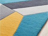 Blue Grey Wool Rug Laura Designer Wool Rug Blue Yellow Grey