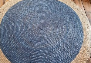 Blue Jute Rug Round 120x120cm Round Circular Blue with Beige Natural Jute Circle