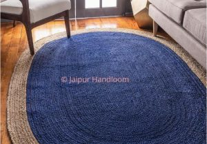 Blue Jute Rug Round 4 X 6 Feet Hand Braided Navy Blue Jute Rag Rugs Living