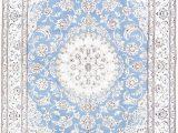 Blue oriental area Rug Floral Medallion Light Blue 5×8 Nain Persian area Rug