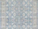 Blue oriental area Rug Silver ash Gray Ivory Ocean Blue Faded oriental Distressed area Rug