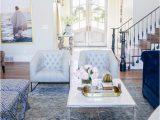 Blue oriental Rug Living Room Tufted Powder Light Blue sofa Chairs Tuxedo Velvet Navy