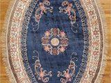 Blue Oval area Rugs Amazon Blue Art Deco Artificial Silk Handmade area Rug
