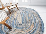 Blue Oval area Rugs Blue 5 X 8 Braided Chindi Oval Rug area Rugs