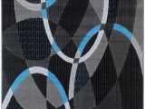 Blue Oval area Rugs Blue Grey Silver Black Abstract Contemporary Modern Design