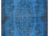 """Blue Overdyed area Rug Blue Over Dyed Turkish Vintage Rug 3 10"""" X 6 11"""" 46 In X"""
