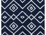 Blue Pattern area Rug Vienna Collection Modern Geometric Shaggy area Rug G3716 Dark Blue & White – Beverly Rug