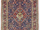 Blue Persian area Rug Vintage Persian area Rug Blue Red Rug 4 X 6