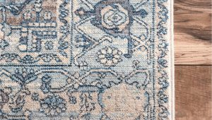 Blue Rug with Fringe Edessa Tribal Medallion Light Blue Rug
