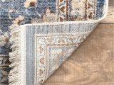 Blue Rug with Fringe Vintage Heidi Floral Fringe Color Blue Size 5 X 7 9
