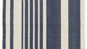 Blue Stripe Cotton Rug Portland Striped Handmade Flatweave Cotton Dark Blue area Rug