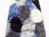 Blue White Shag Rug Runner Corydon Abstract Handmade Shag Blue White Silver area Rug