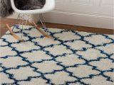 Blue White Shag Rug Super area Rugs Modern Geometric Design soft Shag Rug Blue White 3 X 5