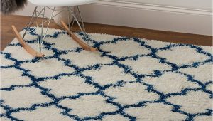 Blue White Shag Rug Super area Rugs Modern Geometric Design soft Shag Rug Blue White 3 X 5