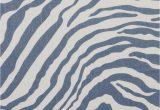 Blue Zebra Print Rug byzantine Zebra Bluestone White