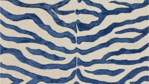 Blue Zebra Print Rug Safari Contemporary Zebra Print with Faux Silk Highlights