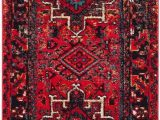 Brahim Red Black area Rug Vintage Hamadan Medallion Red Multi area Rug