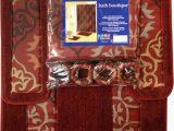 Brick Red Bathroom Rugs Brick Red Scrolls Shower Curtain 15 Pcs Bath Rug Mat Contour