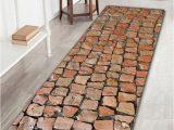 Brick Red Bathroom Rugs Brick Wall Print Flannel Skidproof Rug