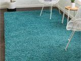 Bright Blue Shag Rug Deep Aqua Blue 5 X 8 solid Shag Rug