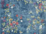 """Bright Colored Floral area Rugs ask 2334 Color Bright Blue Size 7 10"""" X 10 3"""""""