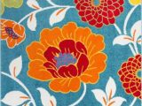 Bright Colored Floral area Rugs Color Blue orange Yellow Pink and F White Material