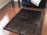 Brown Faux Fur area Rug Lambzy Faux Sheepskin Classic Square area Rug Plush Fur Premium Shag 2 X3 Brown