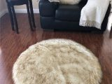 "Brown Faux Fur area Rug Super soft Faux Sheepskin Rug Eclipse White with Brown Tips 3 6"" Round Walmart"