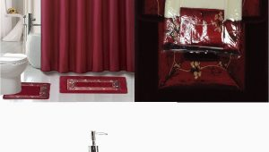 Burgundy Bath Rug Set 22 Piece Bath Accessory Set Burgundy Red Bath Rug Set Shower Curtain Accessories Walmart Com