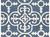 Caffey Navy Blue area Rug byron Geometric Handmade Tufted Navy Blue Ivory Wool area Rug