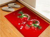 Candy Cane Bath Rug Christmas Candy Cane Printed Decorative Floor Mat