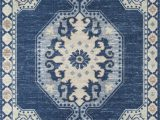 "Carina Synthetic Rug Porcelain Blue Momeni Anatolia Ana 3 Navy Machine Made area Rugs 2 3"" X 7 6"" Runner"