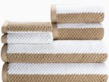 Caro Home Bath Rugs Caro Home Rugby Brown 6 Piece Bath towel Set 2 Bath towels 2 Hand towels 2 Face towels Bed Cotton Premium Quality Striped Pattern Color