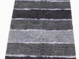 "Charcoal Gray Bathroom Rugs Chardin Home Cordural Stripe Bath Rug Runner with Skid Resistant Latex Spray Underneath Gray Charcoal 24"" W X 60 L"
